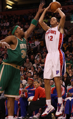 BOSTON - MARCH 15:  Tayshaun Prince #22 of the Detroit Pistons takes a shot as Paul Pierce #34 of the Boston Celtics defends on March 15, 2010 at the TD Garden in Boston, Massachusetts.  NOTE TO USER: User expressly acknowledges and agrees that, by downlo