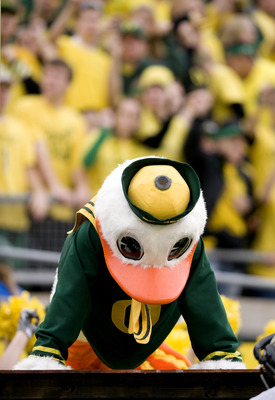 EUGENE, OR - NOVEMBER 06: Mascot 'Puddles' of the Oregon Ducks does some push ups after the Ducks scoured in the fourth quarter of the game between the Washington Huskies and the Oregon Ducks at Autzen Stadium on November 6, 2010 in Eugene, Oregon. The Du