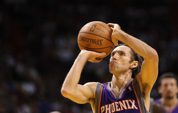 MIAMI - NOVEMBER 17:  Steve Nash #13  of the Phoenix Suns shoots a freethrow during a game against the  Miami Heat at American Airlines Arena on November 17, 2010 in Miami, Florida. NOTE TO USER: User expressly acknowledges and agrees that, by downloading
