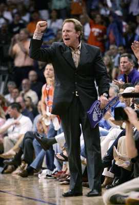 PHOENIX - APRIL 24:  Owner Robert Sarver of the Phoenix Suns cheers his team on against the Memphis Grizzlies in Game one of the Western Conference Quarterfinals during the 2005 NBA Playoffs at America West Arena on April 24, 2005 in Phoenix, Arizona. The