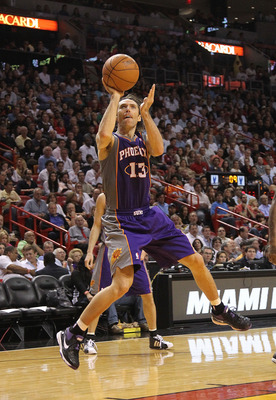 MIAMI - NOVEMBER 17:  Steve Nash #13  of the Phoenix Suns shoots a jumpshot during a game against the  Miami Heat at American Airlines Arena on November 17, 2010 in Miami, Florida. NOTE TO USER: User expressly acknowledges and agrees that, by downloading