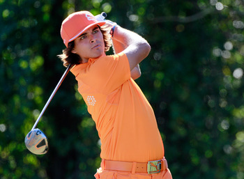LAKE BUENA VISTA, FL - NOVEMBER 14:  Rickie Fowler plays a shot on the 4th hole during the final round of the Children's Miracle Network Classic at the Disney Magnolia course on November 14, 2010 in Lake Buena Vista, Florida.  (Photo by Sam Greenwood/Gett