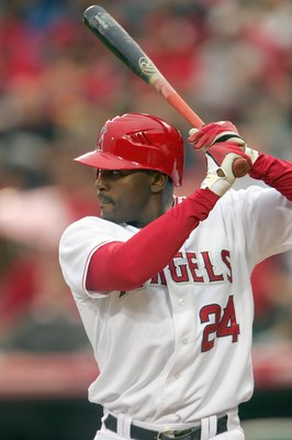 ANAHEIM, CA - APRIL 7: Gary Matthews Jr. #24 of the Los Angeles Angels of Anaheim waits to bat against the Oakland Athletics at Angel Stadium April 7, 2007 in Anaheim, California. (Photo by Stephen Dunn/Getty Images)