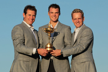 NEWPORT, WALES - OCTOBER 04:  (L-R) European Team members Lee Westwood, Martin Kaymer and Luke Donald pose with the Ryder Cup following Europe's 14.5 to 13.5 victory over the USA at the 2010 Ryder Cup at the Celtic Manor Resort on October 4, 2010 in Newpo