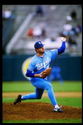 1991:  Mark Davis of the Kansas City Royals in action during a game at Royals Stadium in Kansas City, Missouri.  Mandatory Credit: Otto Greule  /Allsport