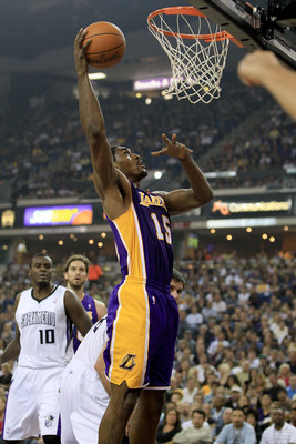 SACRAMENTO, CA - NOVEMBER 03:  Ron Artest #15 of the Los Angeles Lakers in action against the Sacramento Kings at ARCO Arena on November 3, 2010 in Sacramento, California.  NOTE TO USER: User expressly acknowledges and agrees that, by downloading and or u