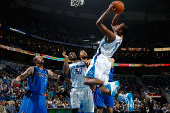 NEW ORLEANS - NOVEMBER 17:  Trevor Ariza #1 of the New Orleans Hornets shoots the ball against the Dallas Mavericks at the New Orleans Arena on November 17, 2010 in New Orleans, Louisiana.  NOTE TO USER: User expressly acknowledges and agrees that, by dow