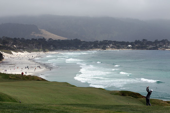 PEBBLE BEACH, CA - JUNE 20:  Gregory Havret of France watches his second shot on the ninth hole during the final round of the 110th U.S. Open at Pebble Beach Golf Links on June 20, 2010 in Pebble Beach, California.  (Photo by Donald Miralle/Getty Images)