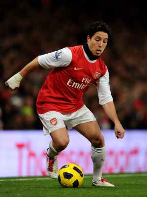 LONDON, ENGLAND - DECEMBER 04:  Samir Nasri of Arsenal in action during the Barclays Premier League match between Arsenal and Fulham at the Emirates Stadium on December 4, 2010 in London, England.  (Photo by Mike Hewitt/Getty Images)