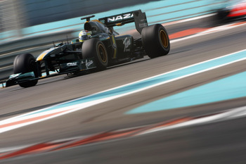 ABU DHABI, UNITED ARAB EMIRATES - NOVEMBER 16: Rodolfo Gonzalez of Venezuala and Lotus F1 Team in action during the Young Driver Testing at the Yas Marina Circuit on November 16, 2010 in Abu Dhabi, United Arab Emirates. (Photo by Andrew Hone/Getty Images)