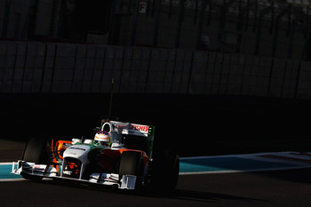 ABU DHABI, UNITED ARAB EMIRATES - NOVEMBER 19: Paul di Resta of Great Britain and Test Driver, Force India F1 Team in action during the Formula 1 Pirelli Tyre Testing at the Yas Marina Circuit on November 19, 2010 in Abu Dhabi, United Arab Emirates. (Phot