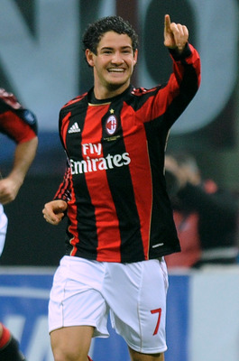 MILAN, ITALY - NOVEMBER 10:  Pato of Milan celebrates after scoring the opening goal during the Serie A match between AC Milan and US Citta di Palermo at Stadio Giuseppe Meazza on November 10, 2010 in Milan, Italy.  (Photo by Tullio M. Puglia/Getty Images