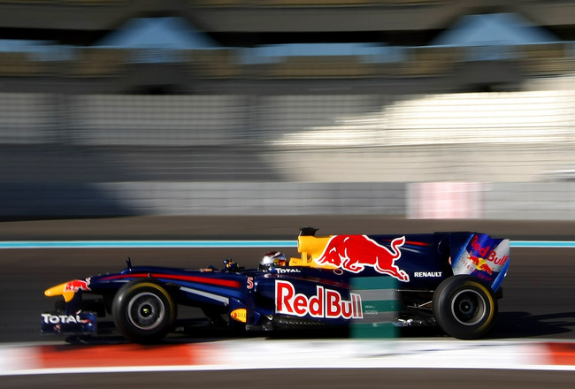 ABU DHABI, UNITED ARAB EMIRATES - NOVEMBER 19:  Sebastian Vettel of Germany and Red Bull Racing in action during the Formula 1 Pirelli Tyre Testing at the Yas Marina Circuit on November 19, 2010 in Abu Dhabi, United Arab Emirates.  (Photo by Andrew Hone/G