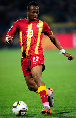 RUSTENBURG, SOUTH AFRICA - JUNE 26: Andre Ayew of Ghana in action during the 2010 FIFA World Cup South Africa Round of Sixteen match between USA and Ghana at Royal Bafokeng Stadium on June 26, 2010 in Rustenburg, South Africa.  (Photo by Stuart Franklin/G