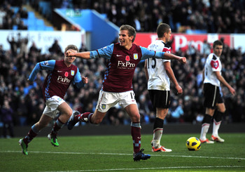 BIRMINGHAM, ENGLAND - NOVEMBER 13:  Marc Albrighton of Aston Villa celebrates after scoring the second goal during the Barclays Premier League match between Aston Villa and Manchester United at Villa Park on November 13, 2010 in Birmingham, England.  (Pho