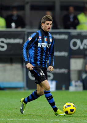 MILAN, ITALY - NOVEMBER 06:  Davide Santon of FC Internazionale Milano during the Serie A match between Inter and Brescia at Stadio Giuseppe Meazza on November 6, 2010 in Milan, Italy.  (Photo by Claudio Villa/Getty Images)