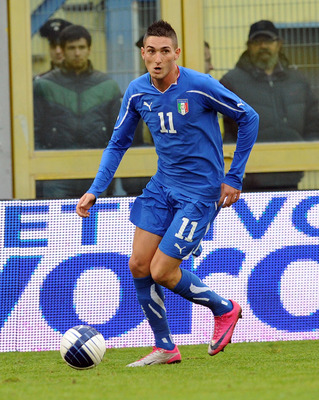 FERMO, ITALY - NOVEMBER 17:  Federico Macheda of Italy in action during the U21 international friendly match between Italy and Turkey at Stadio Bruno Recchioni on November 17, 2010 in Fermo, Italy.  (Photo by Giuseppe Bellini/Getty Images)