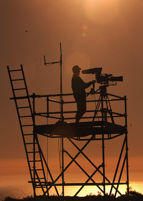 CASCAIS, PORTUGAL - APRIL 04:  A television camera man during second round of The Estoril Open de Portugal The Oitavos Dunes Golf Course on April 4, 2008 in Cascais, Portugal.  (Photo by Stuart Franklin/Getty Images)