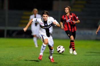 LUCCA, ITALY - AUGUST 13:  Alberto Paloschi of Parma FC during the Pre-Season Friendly match between Lucchese and Parma at Stadio Porta Elisa on August 13, 2010 in Lucca, Italy.  (Photo by Claudio Villa/Getty Images)