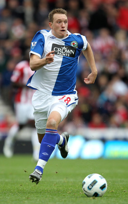 STOKE ON TRENT, ENGLAND - OCTOBER 02:  Phil Jones of Blackburn Rovers in action during the Barclays Premier League match between Stoke City and Blackburn Rovers at the Britannia Stadium on October 2, 2010 in Stoke on Trent, England.  (Photo by Mark Thomps
