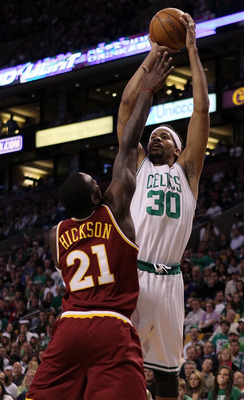 BOSTON - MAY 09:  Rasheed Wallace #30 of the Boston Celtics takes a shot as J.J. Hickson #21 of the Cleveland Cavaliers defends during Game Four of the Eastern Conference Semifinals of the 2010 NBA playoffs at TD Garden on May 9, 2010 in Boston, Massachus