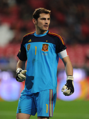 LISBON, PORTUGAL - NOVEMBER 17:  Goalkeeper Iker Casillas of Spain looks on during the International Friendly match between Portugal and Spain at the Estadio da Luz on November 17, 2010 in Lisbon, Portugal.  (Photo by Jasper Juinen/Getty Images)