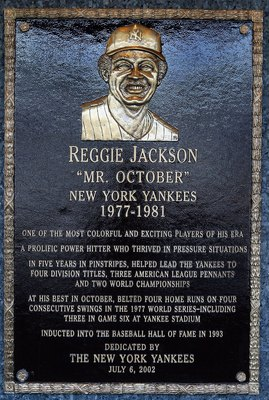 NEW YORK - MAY 02:  The plaque of Reggie Jackson is seen in Monument Park at Yankee Stadium prior to the game between the New York Yankees and the Chicago White Sox on May 2, 2010 in the Bronx borough of New York City. The Yankees defeated the White Sox 1