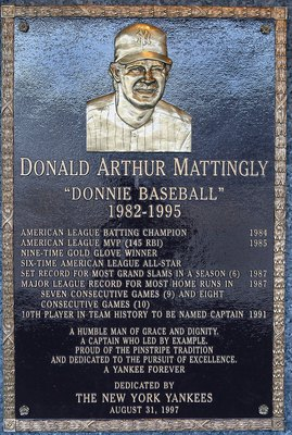 NEW YORK - MAY 02:  The plaque of Don Mattingly is seen in Monument Park at Yankee Stadium prior to the game between the New York Yankees and the Chicago White Sox on May 2, 2010 in the Bronx borough of New York City. The Yankees defeated the White Sox 12