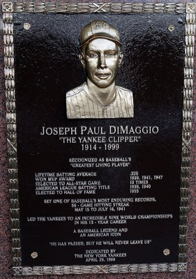 NEW YORK - MAY 02:  The plaque of Joe DiMaggio is seen in Monument Park at Yankee Stadium prior to the game between the New York Yankees and the Chicago White Sox on May 2, 2010 in the Bronx borough of New York City. The Yankees defeated the White Sox 12-