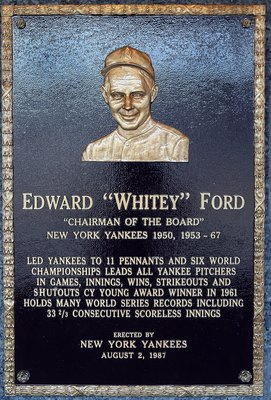 NEW YORK - MAY 02:  The plaque of Whitey Ford is seen in Monument Park at Yankee Stadium prior to game between the New York Yankees and the Chicago White Sox on May 2, 2010 in the Bronx borough of New York City. The Yankees defeated the White Sox 12-3.  (