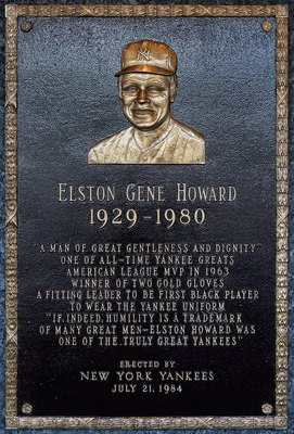 NEW YORK - MAY 02:  The plaque of Elston Howard is seen in Monument Park at Yankee Stadium prior to the game between the New York Yankees and the Chicago White Sox on May 2, 2010 in the Bronx borough of New York City. The Yankees defeated the White Sox 12