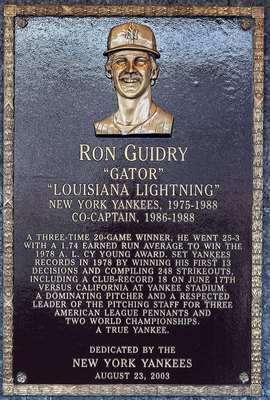 NEW YORK - MAY 02:  The plaque of Ron Guidry is seen in Monument Park at Yankee Stadium prior to the game between the New York Yankees and the Chicago White Sox on May 2, 2010 in the Bronx borough of New York City. The Yankees defeated the White Sox 12-3.