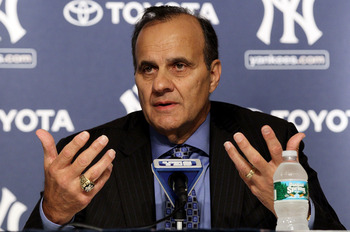 NEW YORK - SEPTEMBER 20:  Former New York Yankees manager Joe Torre speaks to the media prior to the game against the Tampa Bay Rays on September 20, 2010 at Yankee Stadium in the Bronx borough of New York City.  (Photo by Jim McIsaac/Getty Images)