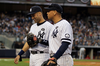 NEW YORK - OCTOBER 20:  (L-R)  Derek Jeter #2 and Alex Rodriguez #13 of the New York Yankees walk back to the dugout at the end of the top of the fourth inning against the Texas Rangers in Game Five of the ALCS during the 2010 MLB Playoffs at Yankee Stadi