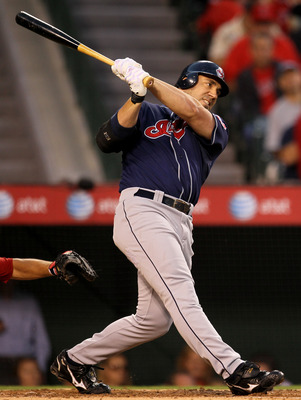 ANAHEIM, CA - SEPTEMBER 06:  Travis Hafner #48 of the Cleveland Indians bats against the Los Angeles Angels of Anaheim in the fourth inning on September 6, 2010 at Angel Stadium in Anaheim, California.  (Photo by Stephen Dunn/Getty Images)
