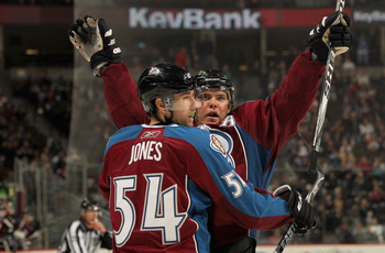 DENVER - NOVEMBER 17:  Paul Stastny #26 of the Colorado Avalanche celebrates his game tying third period goal against the San Jose Sharks with David Jones #54 at the Pepsi Center on November 17, 2010 in Denver, Colorado. The Avalanche defeated the Sharks