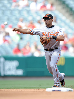 ANAHEIM, CA - AUGUST 29:  Cesar Izturis #3 of the Baltimore Orioles throws to first base against the Los Angeles Angels of Anaheim at Angel Stadium on August 29, 2010 in Anaheim, California.  (Photo by Harry How/Getty Images)