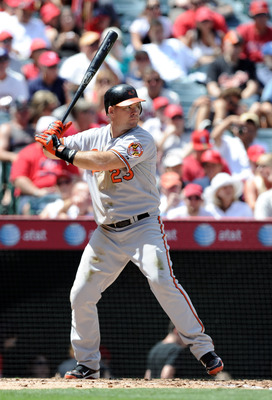 ANAHEIM, CA - AUGUST 29:  Ty Wigginton #23 of the Baltimore Orioles at bat against the Los Angeles Angels of Anaheim at Angel Stadium on August 29, 2010 in Anaheim, California.  (Photo by Harry How/Getty Images)