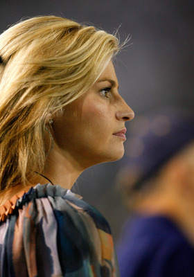 ATLANTA - SEPTEMBER 10:  ESPN sportscaster Erin Andrews watches the Clemson Tigers face the Georgia Tech Yellow Jackets at Bobby Dodd Stadium on September 10, 2009 in Atlanta, Georgia.  (Photo by Kevin C. Cox/Getty Images)