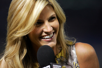 ARLINGTON, TX - AUGUST 06:  ESPN reporter Erin Andrews during a game between the New York Yankees and the Texas Rangers on August 6, 2008 at Rangers Ballpark in Arlington, Texas.  (Photo by Ronald Martinez/Getty Images)