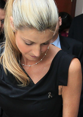 WASHINGTON - JULY 27:  ESPN reporter Erin Andrews looks down as she talks to members of the media after a news conference about proposing new legislation that would clarify federal stalking laws on Capitol Hill July 27, 2010 in Washington, DC. Andrews who