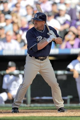DENVER - APRIL 09:  Matt Stairs #16 of the San Diego Padres pinch hits against the Colorado Rockies during MLB action on Opening Day at Coors Field on April 9, 2010 in Denver, Colorado. The Rockies defeated the Padres 7-0.  (Photo by Doug Pensinger/Getty