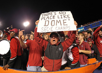GAINESVILLE, FL - NOVEMBER 13:  A South Carolina Gamecocks fan holds a sign claiming the SEC East Champions during a game against the Florida Gators at Ben Hill Griffin Stadium on November 13, 2010 in Gainesville, Florida. The Gamecocks beat the Gators 36