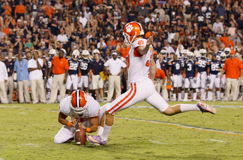 AUBURN, AL - SEPTEMBER 18:  Chandler Catanzaro #39 of the Clemson Tigers against the Auburn Tigers at Jordan-Hare Stadium on September 18, 2010 in Auburn, Alabama.  (Photo by Kevin C. Cox/Getty Images)