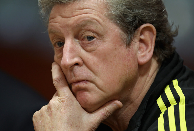 LIVERPOOL, ENGLAND - NOVEMBER 03:  Liverpool manager Roy Hodgson thinks before answering a question during the press conference ahead of their UEFA Europa League match against SSC Napoli at Anfield on November 3, 2010 in Liverpool, England.  (Photo by Cli