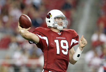 GLENDALE, AZ - AUGUST 14:  Quarterback John Skelton #19 of the Arizona Cardinals drops back to pass during preseason NFL game against the Houston Texans at the University of Phoenix Stadium on August 14, 2010 in Glendale, Arizona.  The Cardinals defeated
