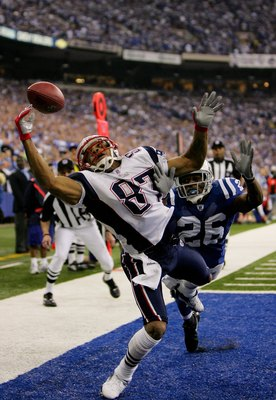 INDIANAPOLIS - JANUARY 21:  Reche Caldwell #87 of the New England Patriots cannot haul in this pass in front of Kelvin Hayden #26 of the Indianapolis Colts during the AFC Championship Game on January 21, 2007 at the RCA Dome in Indianapolis, Indiana.  (Ph
