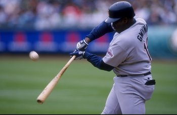 30 Jun 1998:  Outfielder Tony Gwynn #19 of the San Diego Padres in action during an interleague game against the Oakland Athletics at Oakland Coliseum in Oakland, California.  The Athletics won the game,  12-10. Mandatory Credit: Otto Greule Jr.  /Allspor