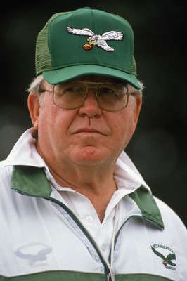 LONDON ?? AUGUST 6: 1989: Head coach Buddy Ryan of the Philadelphia Eagles stands on the sideline during the American Bowl against the Cleveland Browns at Wembley Stadium on August 6, 1989 in London, England.  The Eagles defeated the Browns 17-13.  (Photo