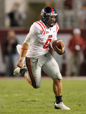 TUSCALOOSA, AL - OCTOBER 16:  Quarterback Jeremiah Masoli #8 of the Ole Miss Rebels against the Alabama Crimson Tide at Bryant-Denny Stadium on October 16, 2010 in Tuscaloosa, Alabama.  (Photo by Kevin C. Cox/Getty Images)